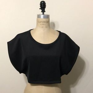 Nasty Gal Black cropped top stretch nylon blouse
